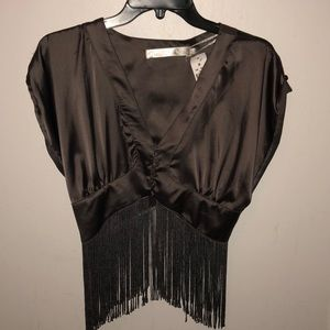 LF mags & pye fringe crop top.